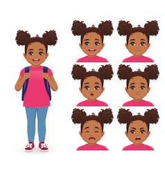 school girl emotions vector image