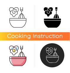 Scramble cooking ingredient icon vector