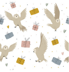 Seamless pattern with cute owls anf gift boxes vector