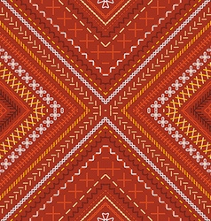 Seamless red tribal embroidery pattern vector