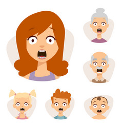 Set beautiful emoticons face of people fear vector