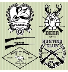 Set emblems with a deer hare pheasant vector