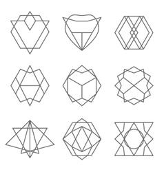 set hipster outline logo badge design vector image