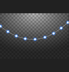 Set of blue garlands festive decorations glowing vector