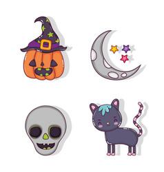set of halloween cartoons vector image