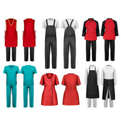 set of overalls with worker and shefcooks and vector image
