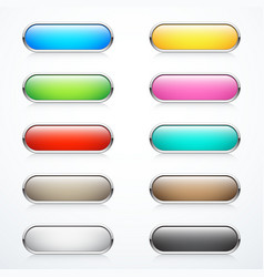 set rounded buttons vector image