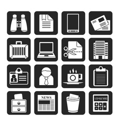 Silhouette Business and office elements icons vector