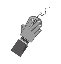 Silhouette hand with computer mouse and wired vector