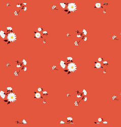 simple florals red seamless pattern vector image