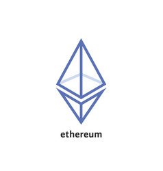 Simple thin line ethereum logo vector