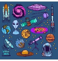 Space sketch set colored vector image