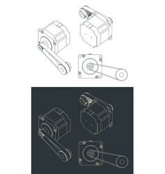 Step motor with belt drawing vector