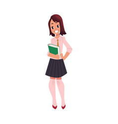 Student pupil girl in school uniform with a book vector