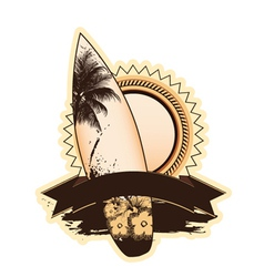 summer label with surfboard vector image