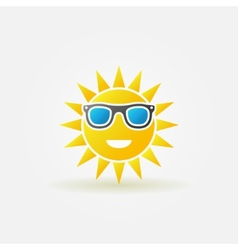 Sun with sunglasses bright icon vector