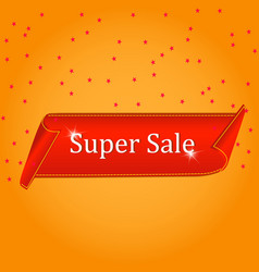 super sale banner red curved ribbon isolated on vector image