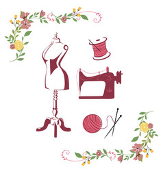 tailor sewing knitting vintage needle logo set vector image