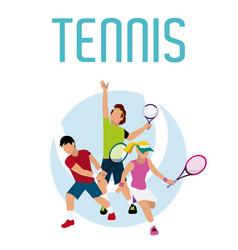 Tennis players cartoons vector