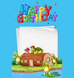 Turtle next to the house birthday template vector