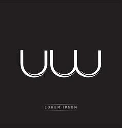 Uw initial letter split lowercase logo modern vector