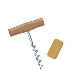 Wine corkscrew and cork vector