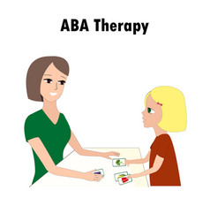 Woman and girl pointing aba activities cards one vector