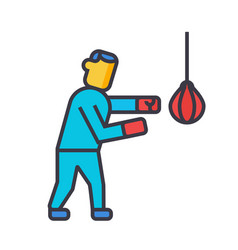 boxing flat line concept vector image vector image