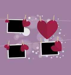 heart with film frame on rope vector image vector image