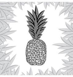 pineapple fruit black and white design vector image
