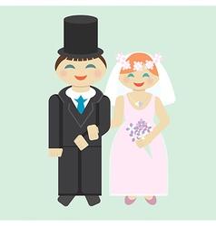 Wedding icon bridegroom and bride vector image vector image