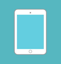 white tablet with blue screen on blue background vector image vector image