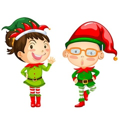 Christmas theme with two elves vector image
