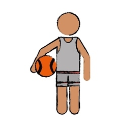 Drawing character player basketball vector