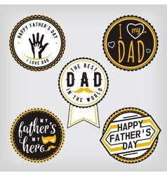 Happy Fathers Day Design gold Collection Stickers vector image vector image