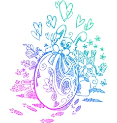 Ornate egg and Easter bunnies vector image vector image