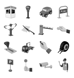 Parking zone set icons in monochrome style Big vector image