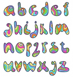 psychedelic alphabet letters vector image vector image