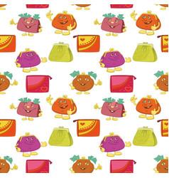 seamless pattern cartoon purses vector image