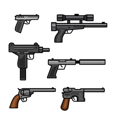 Set of guns vector image vector image