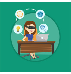 business woman in vr headset working on computer vector image