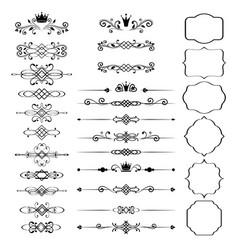 floral design elements set ornamental vintage vector image