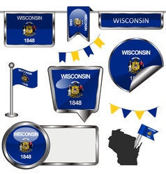Glossy icons with Wisconsinite flag vector image