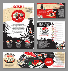 japanese seafood restaurant sushi menu template vector image