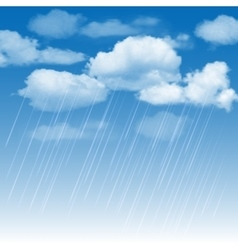 Rainclouds and rain in the blue sky vector image
