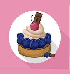 berry mousse delicious cake sweet dessert cherry vector image