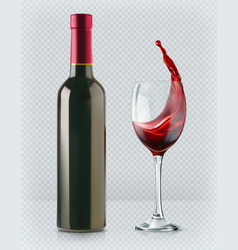 bottle of wine and wineglass red splash 3d vector image vector image