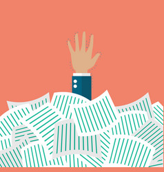 Businessman under a lot of documents vector image vector image