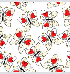 heart butterfly pattern vector image vector image