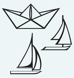Origami paper ship and sailboat sailing vector image